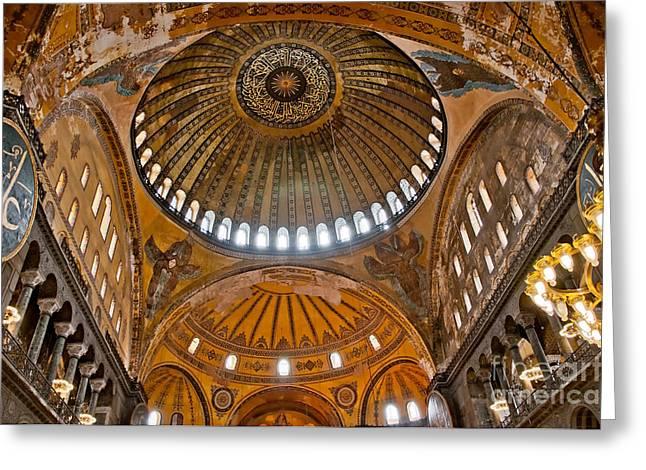 Religious Art Photographs Greeting Cards - Hagia Sofia Interior 02 Greeting Card by Antony McAulay