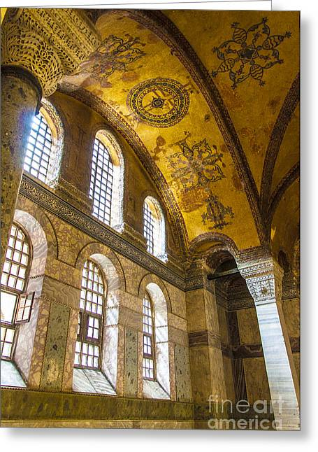 Religious Art Photographs Greeting Cards - Hagia Sofia Interior 10 Greeting Card by Antony McAulay