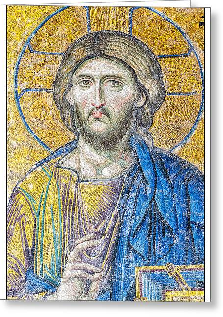 Icon Byzantine Photographs Greeting Cards - Hagia Sofia Jesus mosaic Greeting Card by Antony McAulay