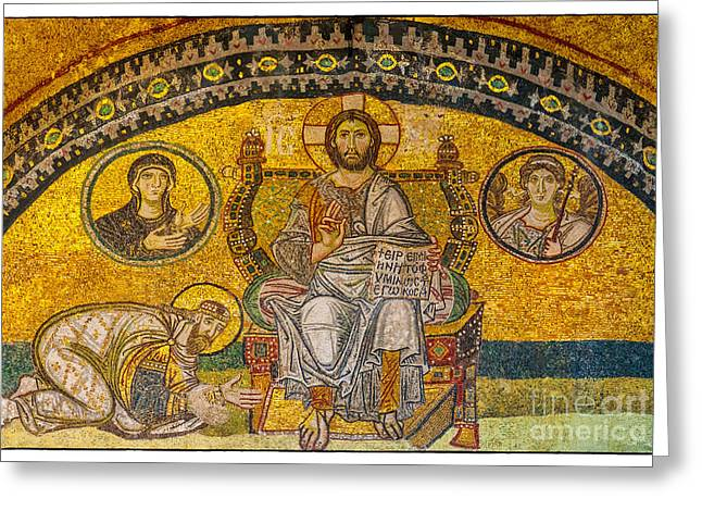 Icon Byzantine Photographs Greeting Cards - Hagia Sofia mosaic 04 Greeting Card by Antony McAulay