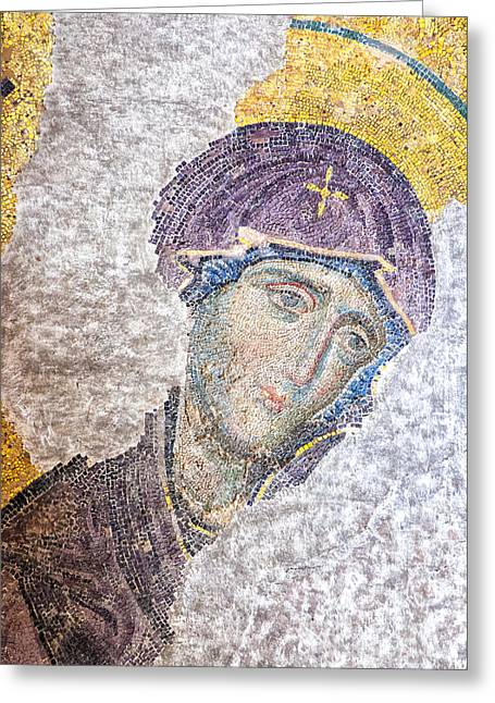 Icon Byzantine Photographs Greeting Cards - Hagia Sofia mosaic 11 Greeting Card by Antony McAulay