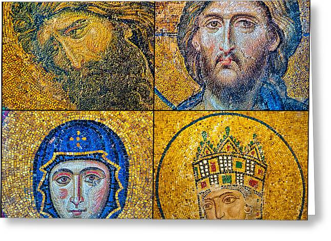 Icon Byzantine Photographs Greeting Cards - Hagia Sofia mosaics Greeting Card by Antony McAulay