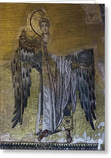 Byzantine Greeting Cards - Hagia Sophia Angel Greeting Card by Stephen Stookey