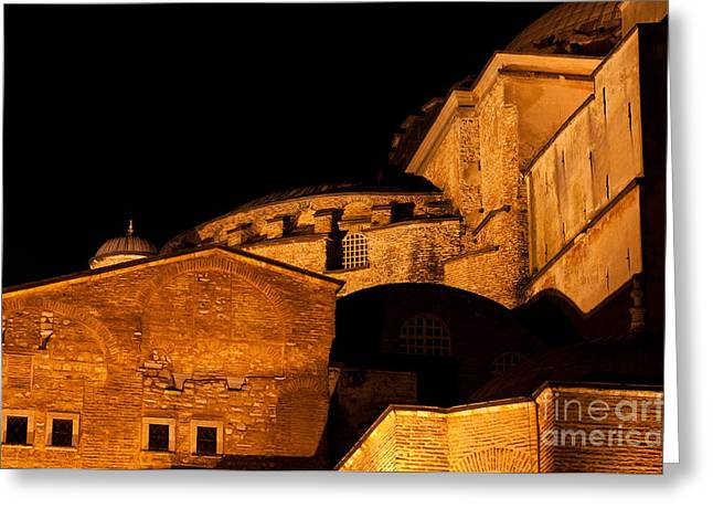Haghia Sophia Mosque Greeting Cards - Hagia Sophia At Night Greeting Card by Rick Piper Photography