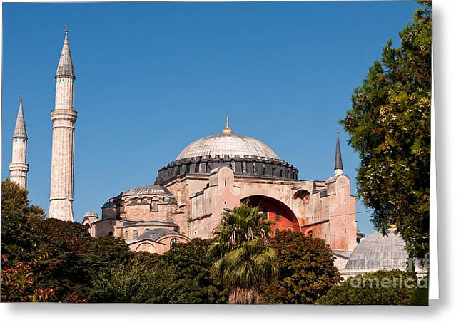 Haghia Sophia Mosque Greeting Cards - Hagia Sophia Blue Sky 01 Greeting Card by Rick Piper Photography