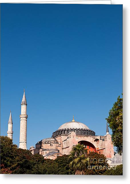 Haghia Sophia Mosque Greeting Cards - Hagia Sophia Blue Sky 02 Greeting Card by Rick Piper Photography