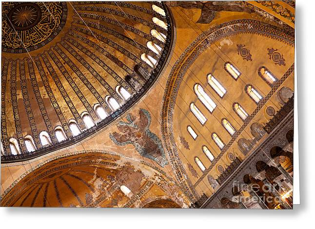 Haghia Sophia Mosque Greeting Cards - Hagia Sophia Dome 01 Greeting Card by Rick Piper Photography