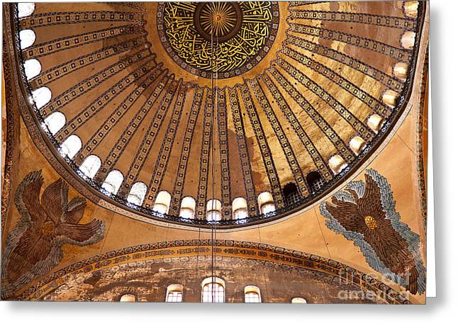 Haghia Sophia Mosque Greeting Cards - Hagia Sophia Dome 02 Greeting Card by Rick Piper Photography