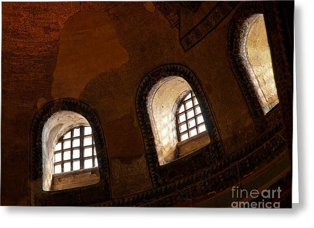 Haghia Sophia Mosque Greeting Cards - Hagia Sophia Dome Windows Greeting Card by Rick Piper Photography