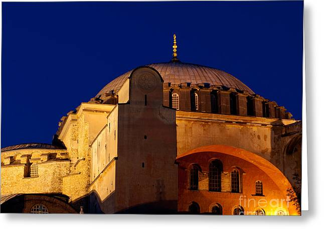 Haghia Sophia Mosque Greeting Cards - Hagia Sophia Evening Greeting Card by Rick Piper Photography