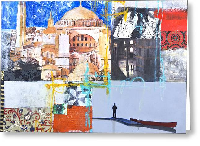 Domes Mixed Media Greeting Cards - Hagia Sophia istanbul Greeting Card by Elena Nosyreva