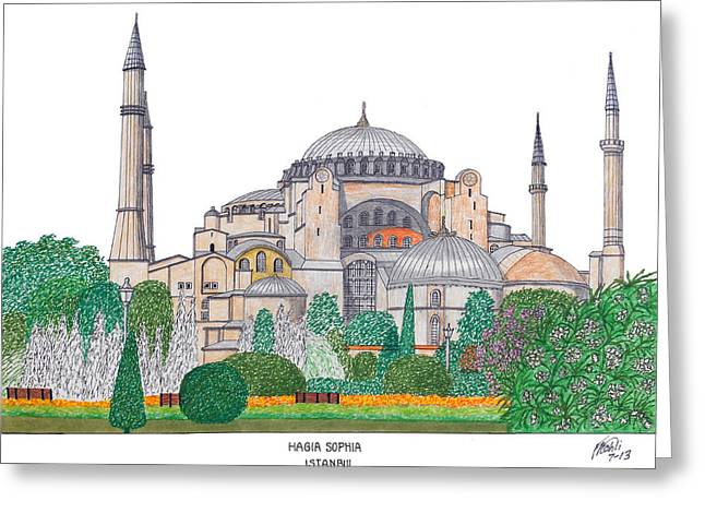 Istanbul Mixed Media Greeting Cards - Hagia Sophia Istanbul Greeting Card by Frederic Kohli