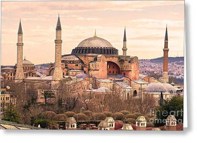Hagia Sophia mosque - Istanbul Greeting Card by Luciano Mortula