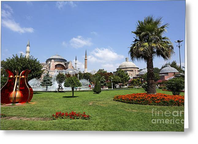Hagia Sophia Greeting Cards - Hagia Sophia Museum and Gardens Istanbul Greeting Card by Robert Preston
