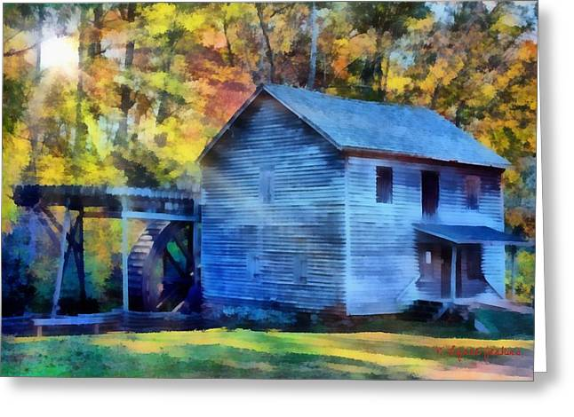 Grist Mill Paintings Greeting Cards - Hagood Mill with Sunrays Greeting Card by Lynne Jenkins
