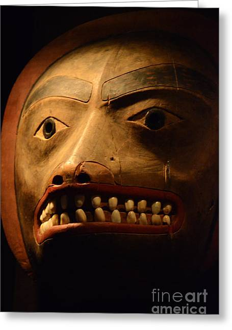 Ancient Indian Art Greeting Cards - Haida Carved Wooden Mask 1 Greeting Card by Bob Christopher
