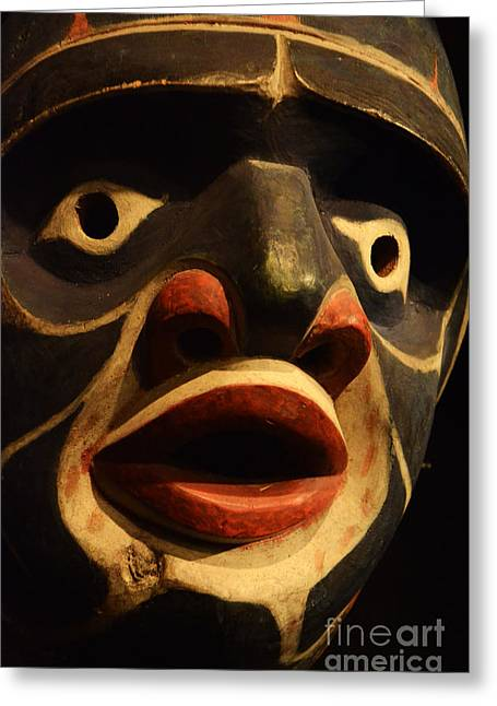 Ancient Indian Art Greeting Cards - Haida Carved Wooden Mask 5 Greeting Card by Bob Christopher