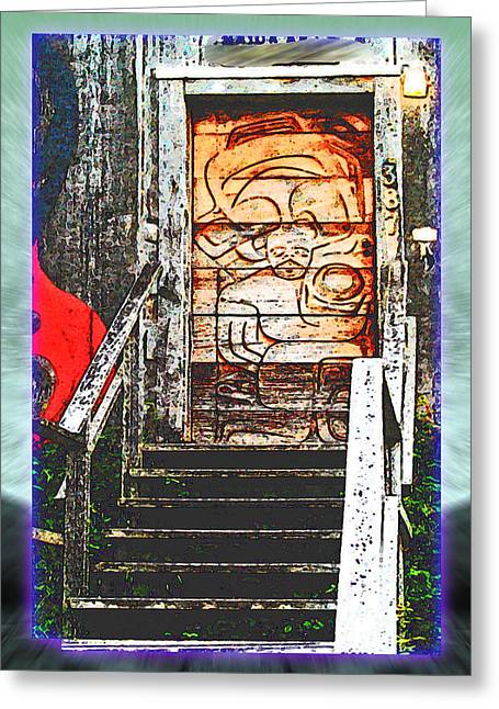 Charlotte Digital Art Greeting Cards - Haida Crafts Shop Greeting Card by Monzo Rock