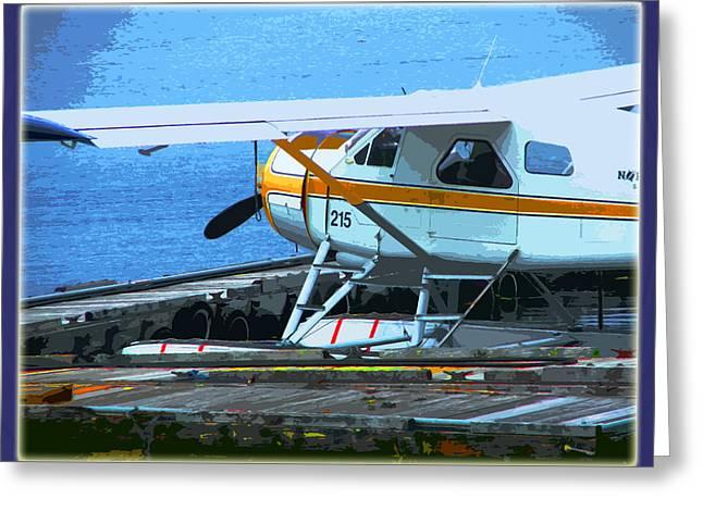 Charlotte Digital Art Greeting Cards - Haida Gwaii Seaplane Greeting Card by Monzo Rock