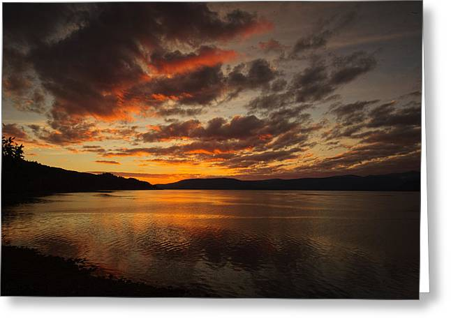 Charlotte Greeting Cards - Haida Gwaii Sunet Red Sky-1 Greeting Card by Evan Spellman