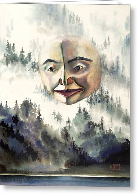 Fog Mist Drawings Greeting Cards - Haida Moon Mask Greeting Card by Ann Miller