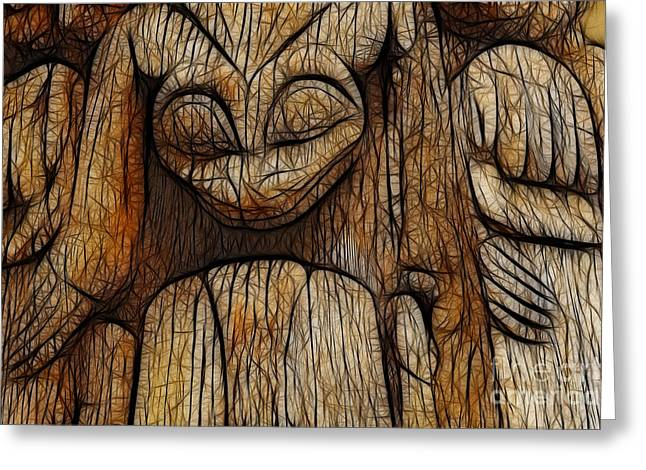 Charlotte Greeting Cards - Haida Totem Greeting Card by Bob Christopher