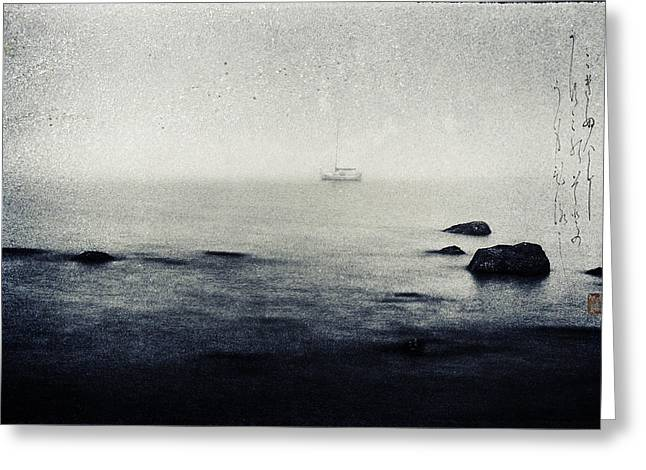Boats In Water Mixed Media Greeting Cards - Haiga rowing through the mist Greeting Card by Peter v Quenter