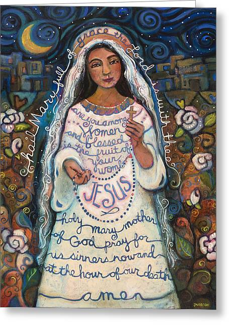Roses Greeting Cards - Hail Mary Greeting Card by Jen Norton