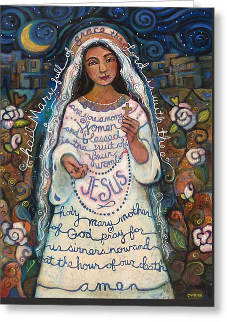 Virgins Greeting Cards - Hail Mary Greeting Card by Jen Norton
