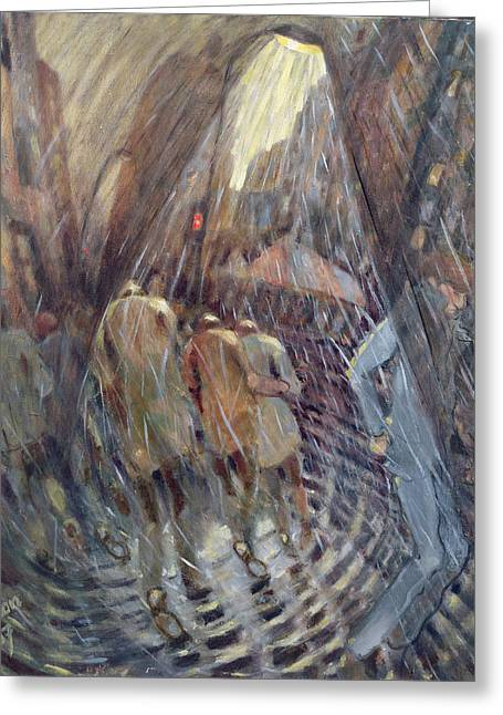 Night Lamp Greeting Cards - Hail On Sixth Avenue, New York City, 1987 Oil On Canvas Greeting Card by Charlotte Johnson Wahl