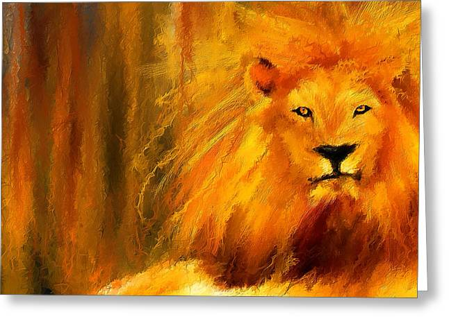 African Lion Art Greeting Cards - Hail The King Greeting Card by Lourry Legarde