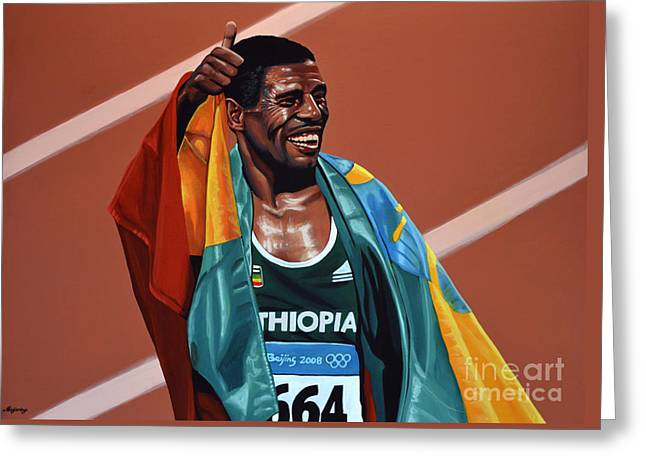 Marathon Greeting Cards - Haile Gebrselassie Greeting Card by Paul  Meijering
