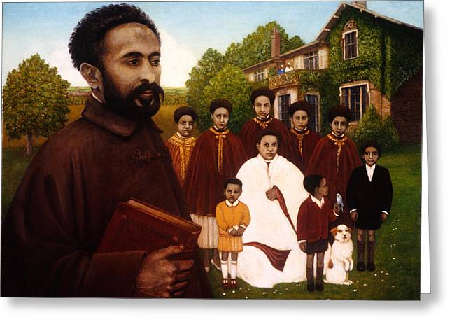 Leader Greeting Cards - Haile Selassie In Exile, 1987 Oil And Tempera On Panel Greeting Card by Frances Broomfield