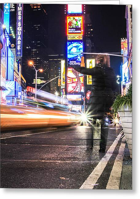 Hail A Cab Greeting Cards - Hailing a Cab Times Square Greeting Card by John McGraw