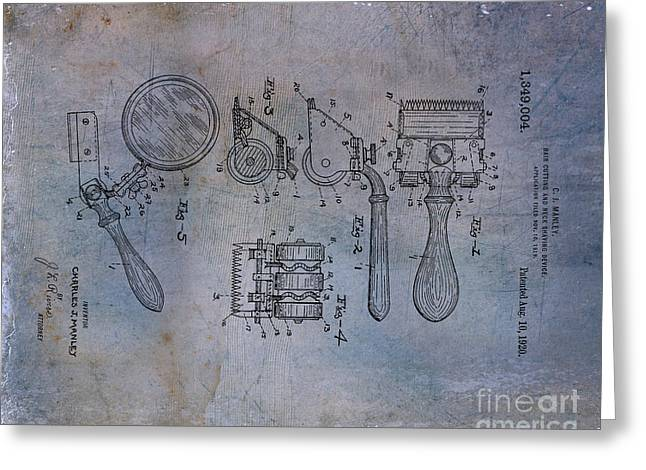 Antique Greeting Cards - Hair and Neck Shaver 1920 Patent Art Blue 2 Greeting Card by Lesa Fine