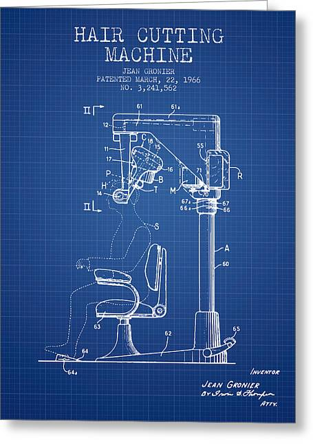 Barber Shop Greeting Cards - Hair Cutting Machine Patent from 1966 - Blueprint Greeting Card by Aged Pixel