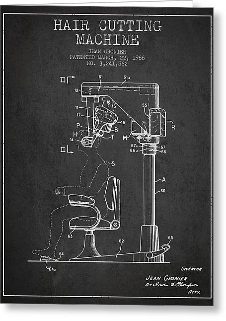 Barber Shop Greeting Cards - Hair Cutting Machine Patent from 1966 - Charcoal Greeting Card by Aged Pixel