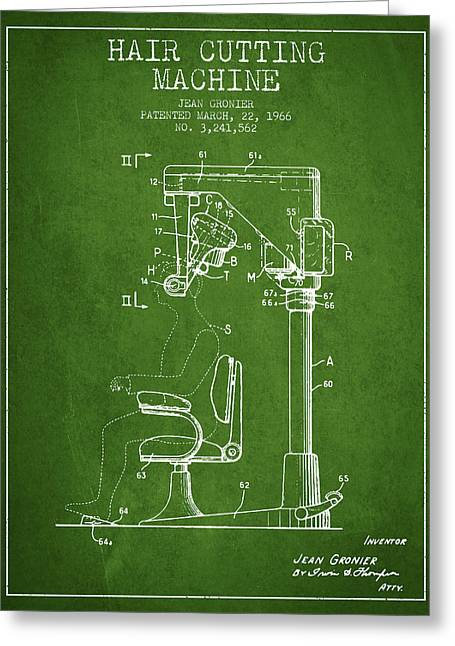 Barber Shop Greeting Cards - Hair Cutting Machine Patent from 1966 - Green Greeting Card by Aged Pixel
