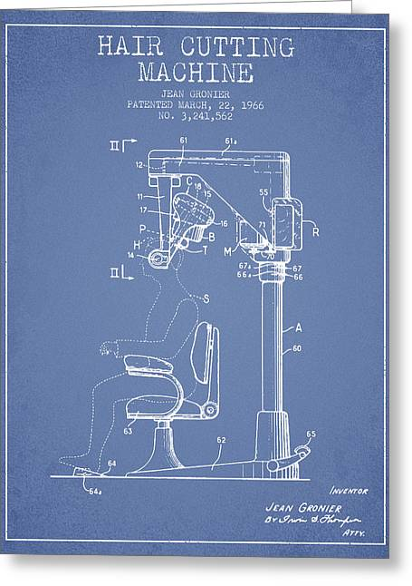 Barber Shop Greeting Cards - Hair Cutting Machine Patent from 1966 - Light Blue Greeting Card by Aged Pixel