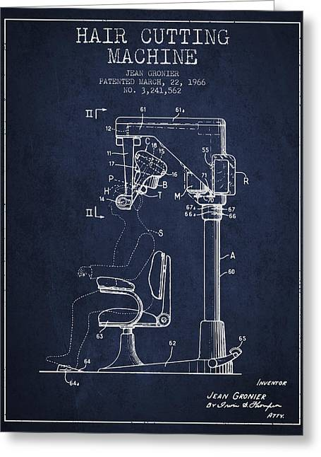 Barbers Greeting Cards - Hair Cutting Machine Patent from 1966 - navy Blue Greeting Card by Aged Pixel