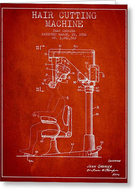Barber Shop Greeting Cards - Hair Cutting Machine Patent from 1966 - Red Greeting Card by Aged Pixel