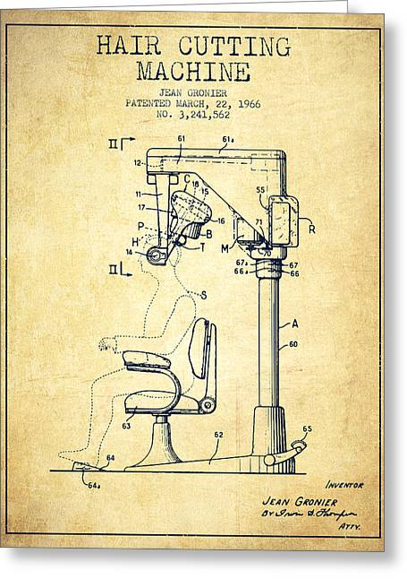 Barbers Greeting Cards - Hair Cutting Machine Patent from 1966 - Vintage Greeting Card by Aged Pixel