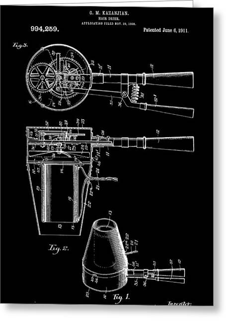 Beautician Greeting Cards - Hair Dryer 2 Patent Art 1911 Greeting Card by Daniel Hagerman