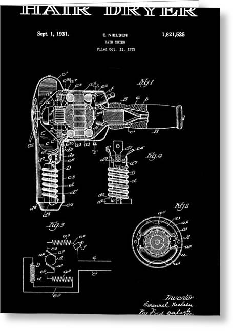 Beautician Greeting Cards - Hair Dryer 2 Patent Art 1931 Greeting Card by Daniel Hagerman