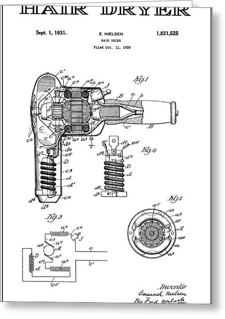 Beautician Greeting Cards - Hair Dryer 4 Patent Art 1931 Greeting Card by Daniel Hagerman