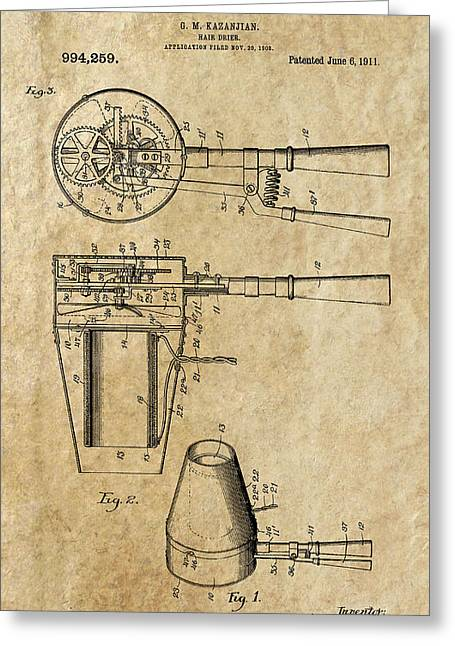Beautician Greeting Cards - Hair Dryer Patent Art 1911 Greeting Card by Daniel Hagerman