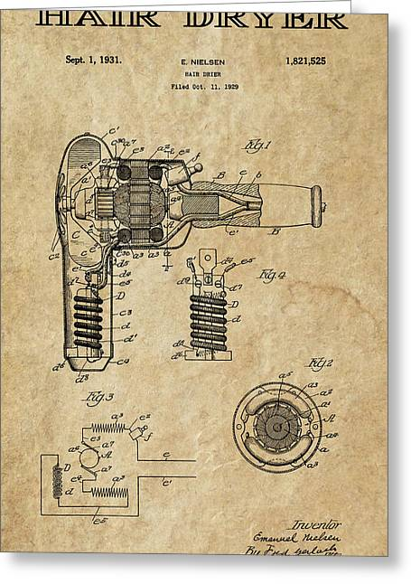Beautician Greeting Cards - Hair Dryer Patent Art 1931 Greeting Card by Daniel Hagerman