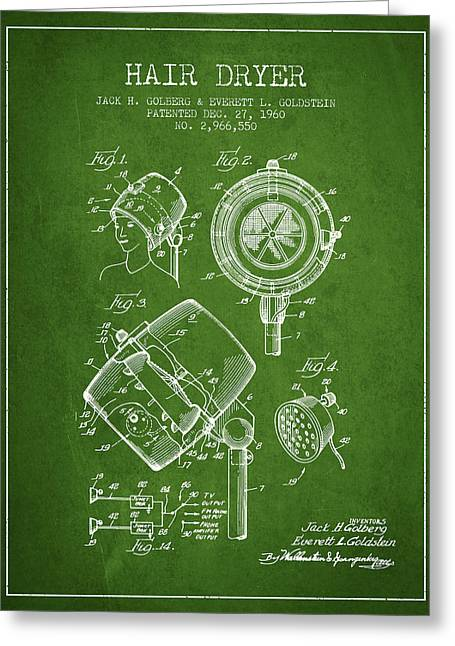 Hairdressers Greeting Cards - Hair Dryer patent from 1960 - Green Greeting Card by Aged Pixel