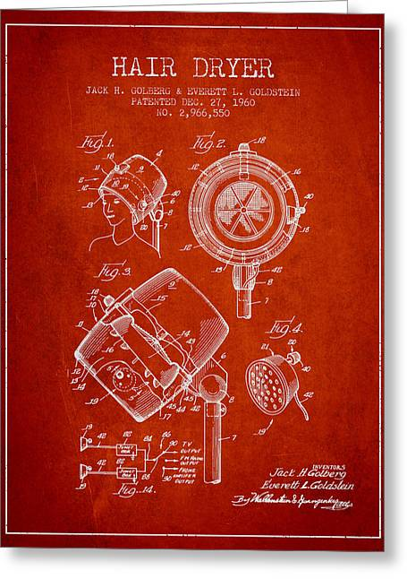 Hairdressers Greeting Cards - Hair Dryer patent from 1960 - Red Greeting Card by Aged Pixel