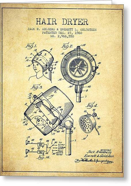 Hair Dryer Patent From 1960 - Vintage Greeting Card by Aged Pixel
